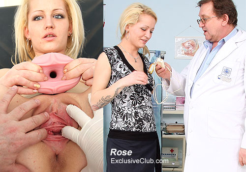 Blonde Rose Gyno Exam and Pussy Streching