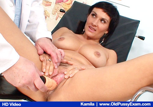 Busty Brunette Spreads Legs and Masterbates plus Doctor and Adult-toys