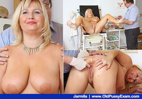 Busty Smiling Golden haired Gets Vag Exploration on Odd gyn clinic Chair