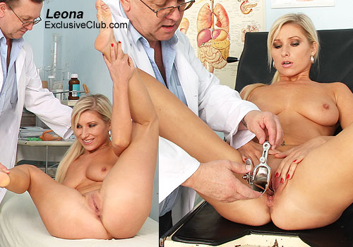 Foxy Blonde Leona Gyno Exam with Shaved Pussy