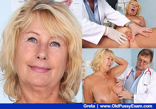 Gynecologist Tests Old Blonde Large Natural Juggs and Shaved Twat
