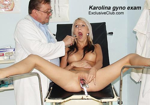 Hot blond chick Karolina gyno exam