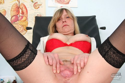Lady Registered caretaker plus Big Natural Titties Rubbing muff plus Adult toy in Gyno kinky clinic