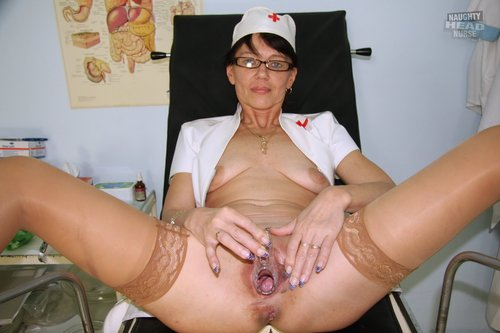 Mature Nurse Kaja Unbuttons her Uniform and Toys herself her pussy her vagina Shag toy