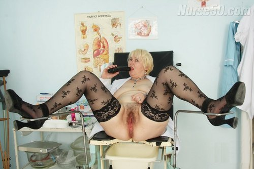Mom Registered nurse Bozena in Milky Shirt and See-Through Nylons