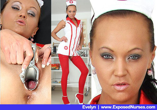 Slender Woman in Practical nurse Costume, Red Hose and High Stilettos