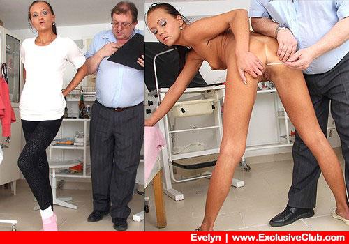 Thin Slender Brunette Evelyn Undresses in Doctor's Office