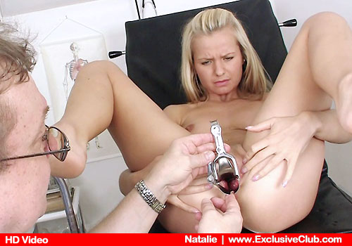 Young Blonde Natalie Spreads Legs on Hospital Bed